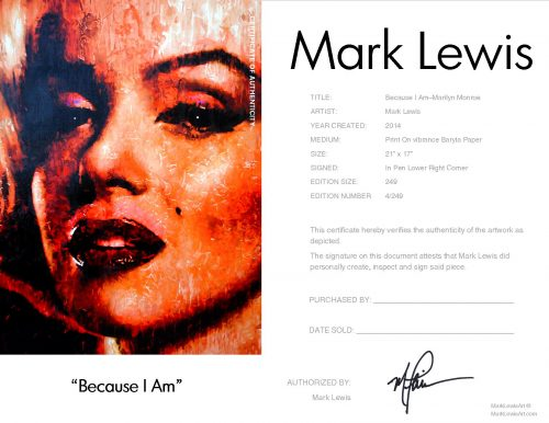 Marilyn Monreo - Because I Am by Mark Lewis