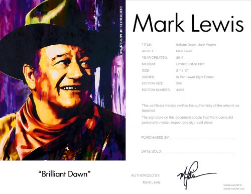 John Wayne - Brilliant Dawn by Mark Lewis