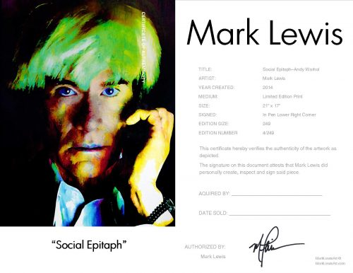 Andy Warhol - Social Epitaph by Mark Lewis